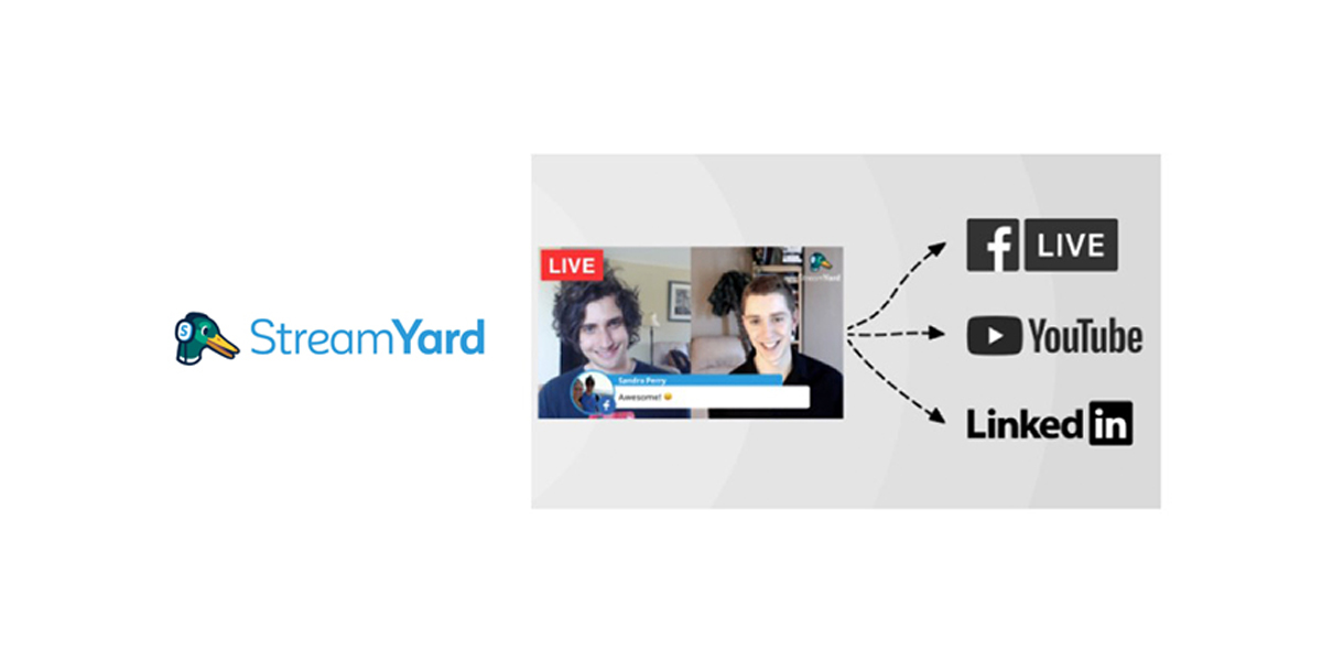 The StreamYard logo is next to a Video Screen that shows a LIVE Video that broadcasts to Facebook LIVE, Youtube LIVE and Linked